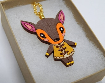 Animal Crossing Fauna Deer Laser Cut Wood Necklace