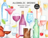Watercolour alcoholic drinks clipart, wine, beer, liquor, vodka, cocktail, garnish for instant download
