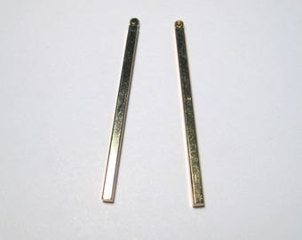Gold Plated Brass Long Rectangle Bar Charms Pendants 39mm