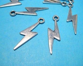 10pcs Antique Silver Lightning Charms Pendants 29mm
