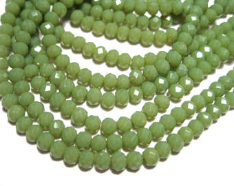 1 Strand Olive Green Faceted Imitation Jade Glass Beads 3mm( No.32)