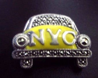 SALE Vintage Signed Judith Jack Sterling Silver Marcasite Enamel NYC Taxi Brooch Pin 25x19mm 8.5gms