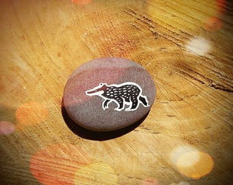Hand Painted Badger Art Pebble Decoration - Animal Totem - MADE TO ORDER