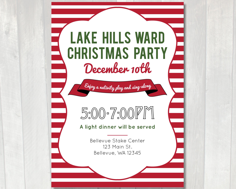 Printable Christmas Party Invitation LDS Ward Christmas