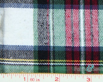 "Green, White, Red, Navy and Yellow Plaid Flannel Fabric Cotton 7.5 Oz 59-61"" 840447"