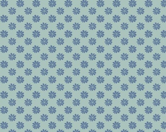 Fabric -Liberty  - The English Garden - Floral dot, teal - Quilters weight cotton
