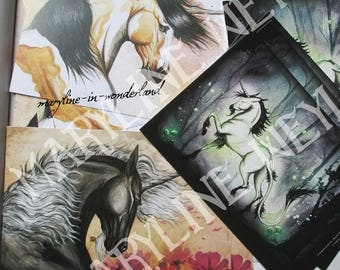 "Set of 3 postcards ""the book of unicorns"""