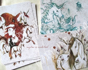 "3 postcards ""unicorns, charms and spells"""