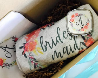 Bridesmaid proposal box, proposal gift, bridesmaid gift, cosmetic case, bridesmaid shirt, bridesmaid raglan, will you be my