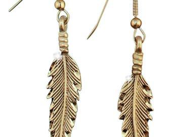 Silver Pewter Diamond Cut Handmade Feather Earrings