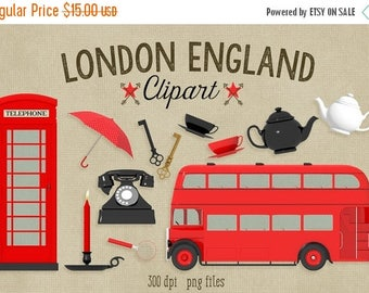 80% OFF SALE London England Clipart, British Clipart, Red Phone Booth, Red Double Decker Bus, 300 dpi png file, commercial use graphics