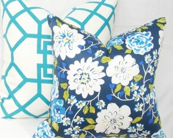 """Blue & green floral decorative throw pillow cover. 18"""" x 18"""" pillow cover. Blue white pillow cover. Blue turquoise pillow cover"""