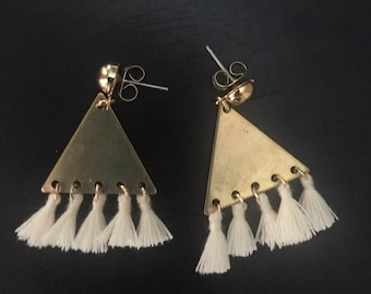 Triangle Brass Studs with Tassels!