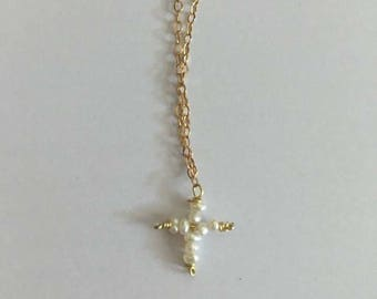 Dainty Pearl Cross Necklace