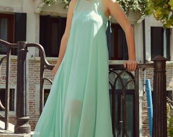 ON SALE Turquoise Summer Kaftan TDK186, Turquoise Venetian Dress, Classy Maxi Dress, Summer Party Dress by Teyxo