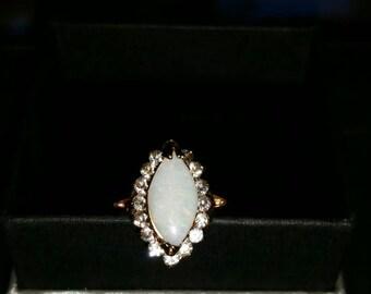Navette opal ring