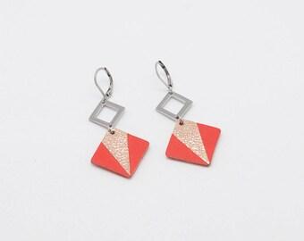 Leather DIAMOND earrings / lightweight and graphic / handmade