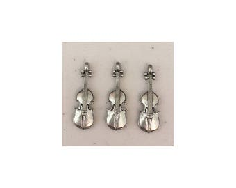 Violin CHARM (3) antique pewter - 3 charms per pack musical instruments