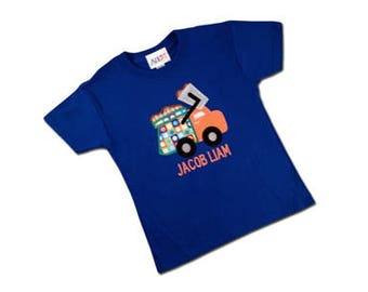 Boy's Garbage Truck Birthday Shirt with Number and Name