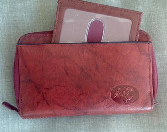 Vintage Buxton Red Leather Double zip Around Wallet