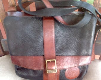 FS Earthbag Brown Black Pebbed Leather Italian made flap shoulder handbag