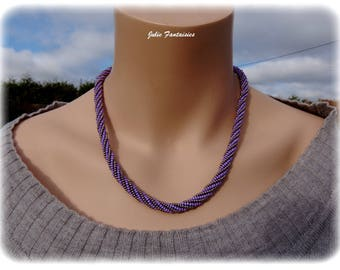 Necklace beaded purple and silver - spiral (woven necklace)
