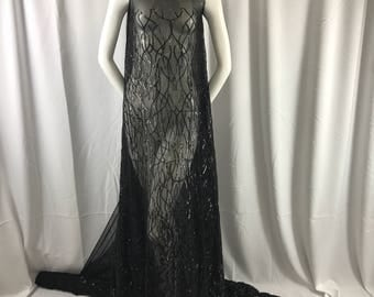 Dazzling Black fashion tree Embroider with sequins on a mesh lace-prom-nightgown-decorations-dresess-apparel-fashion-sold by the yard