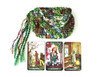 Mossy Green Forest Fairy Tarot Bag Handmade Crochet Lenormand Pouch pagan purse butterfly nature Mohair yarn handmade art nouveau wallet