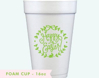 Happy Easter Wreath - Easter Foam Cups (Qty 12)