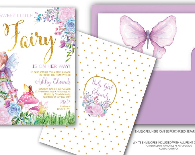 Fairy Baby Shower Invitation // Fairies and Buterflies // Baby Sprinkle // Gold // purple // Floral // Watercolor // ANN ARBOR COLLECTION