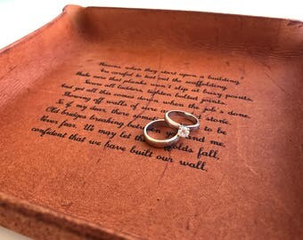 Leather Tray with Your Vows / 3-Year Anniversary Gift / Personalized Tray / 3rd Anniversary Gift / Engraved with your Vows, Song, Message