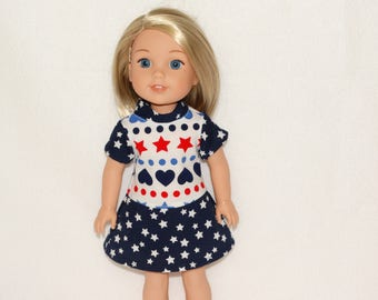 Handmade Hearts and Stars Dress to fit 14.5 in dolls such as wellie wishers doll clothes AG
