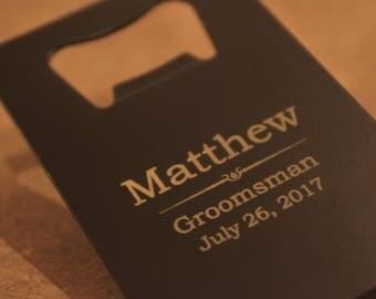 Personalized Credit Card Bottle Opener, Wallet Size Bottle Opener, Groomsmen Gift, Usher Gift, Boyfriend, Father, Beer Opener, Bottle Opener