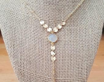 15% OFF SALE Moonstone 14K Gold Filled Y Necklace / Lariat / Moonstone Lariat Necklace / Gold Feather / Boho Feather / Moonstone Y Necklace
