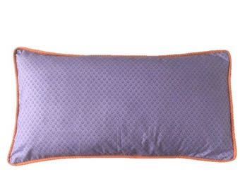 Cushion cover Provence flower lilac, edging cushion cover, orange dots, gray and white polka dots back. Ribbed cushion, decorative cushion.