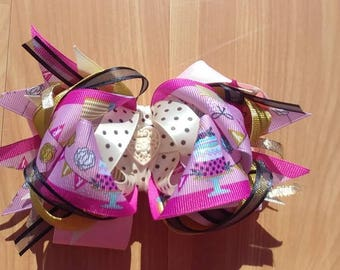 "Birthday Party OTT stacked boutique hairbow 5.5"" X 4"", handmade bow. OOAK ready to ship birthday cake ribbon"