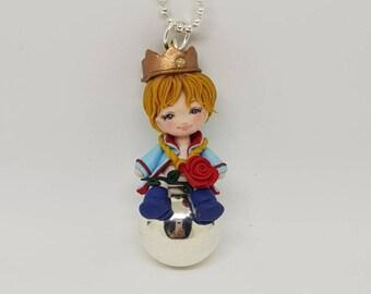 collana con chiama angeli e piccolo principe in fimo.. /little Prince/handmade / cute / fimo / nackelace