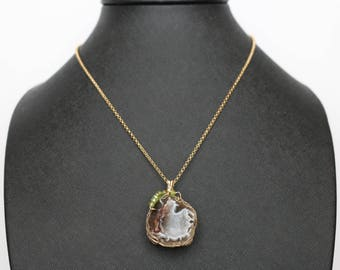 Golden Brown Geode Druzy pendant necklace