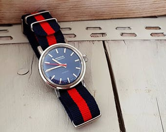 "Gents watch Remova  ""Compressor"" - with EPSA Stainless steel case, manual wind, colored with Deep blue dial and Red second hand."