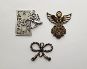 Steampunk Charms Pendants - 3 to choose from. Clock, Angel, Bow