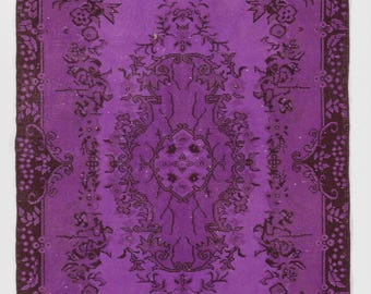 "Overdyed Rug 3'10"" x 7' (118 x 218 cm) Turkish Handmade Vintage Rug, Purple Overdyed Rug"