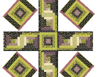 Boho Log Cabin Quilt Four Panel Table Runner Placemats Pattern - INSTANT DOWNLOAD