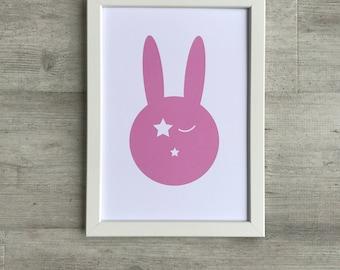 Children's Print - Bunny Print A4   Nursery Print