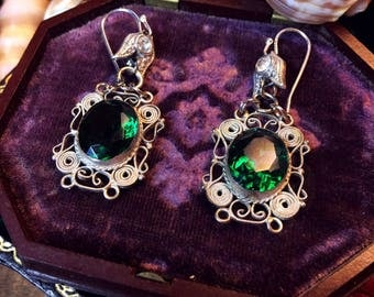 Antique Vintage Assemblage Silver Filigree Art Deco Emerald Green Paste Stone Earrings/Bohemian/Gypsy/Festival/Coachella/Hippie/Goth