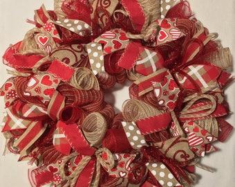 SALE Valentine Wreath, Burlap Valentine Wreath, Valentine's Day Wreath, Valentine Burlap, Valentine Decor, Valentine Door, red white burlap