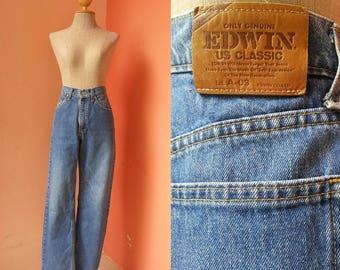 High Waisted Jeans High Waisted Denim Womens Jeans EDWIN Jeans Vintage Blue Straight Leg Jeans