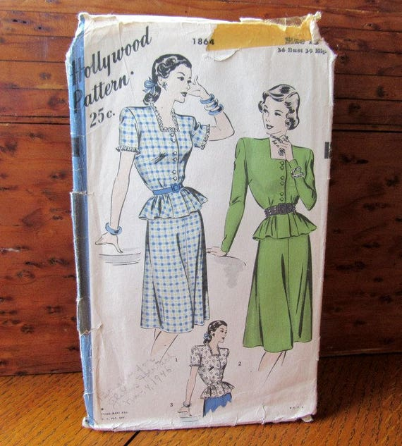 Hollywood Pattern #1864 Peplum Two Piece Dress Or Suit 1940's