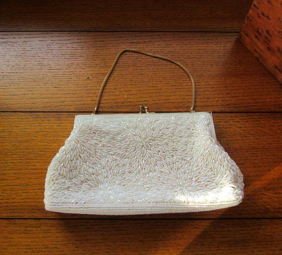 Handmade Cream Beaded Evening Bag