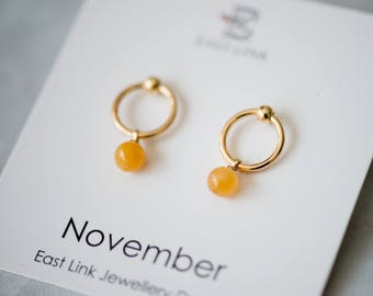 14K gold plated natural stones November Birthstone yellow stud drop earrings hoop birthday gift