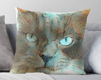 Cat Lover Gift, Cat Decor, Cat Throw Pillow, Pet Throw Pillow, Persian Cat Home Decor